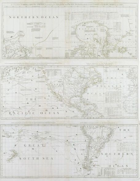 A Chart of North an South America, including the Atlantic and Pacific Oceans, with the nearest Coasts of Europe, Africa, and Asia.