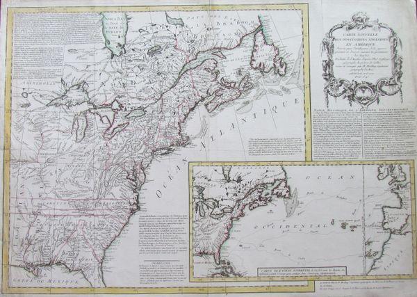 Carte Nouvelle des Posséssions Angloises en Amérique dressée pour l'intelligence de la guerre présente et divisée suivant les prétentions des Anglais...
