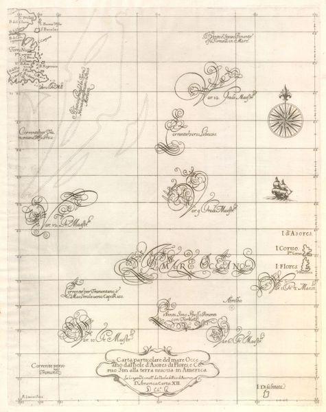 Carta Particolare del'Mare Occeano dal'Isole d'Asores di Flores, e Corvo sin alla Terra Nuova in America…