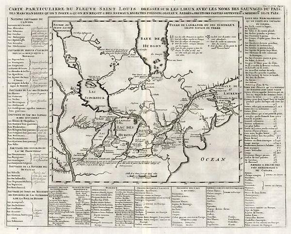 Carte Particuliere du Fleuve Saint Louis Dressee sur les Lieux avec les noms des Sauvages du Pais