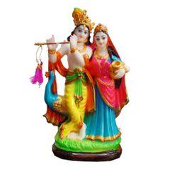 JRG Peacock Radha Krishna Multicolour Finish Idol Statue (11 cms x 6.5 cms x 23 cms)