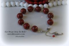 SILVER AND RED CORAL BRACELET