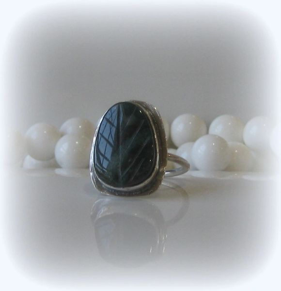 MOSS AGATE LEAF RING