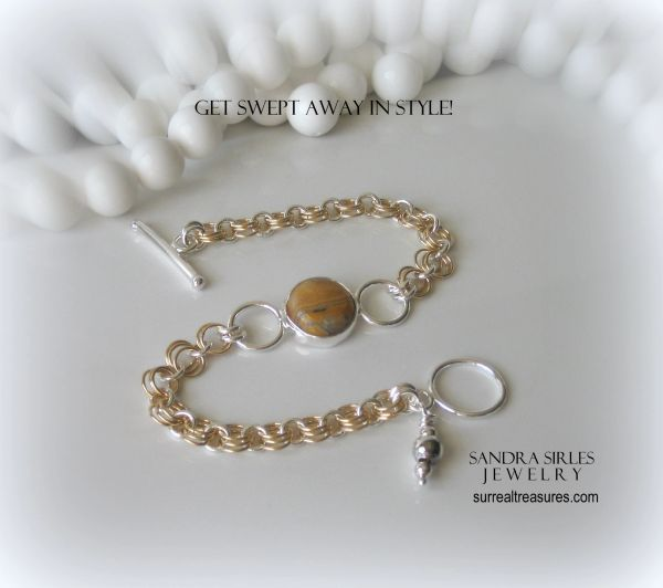 BRACELET GOLD FILLED AND STERLING SILVER CHAIN, CRAZY LACE AGATE