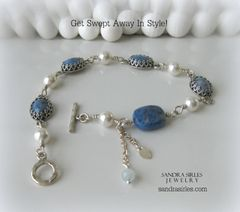 SILVER, LAPIS AND PEARL BRACELET