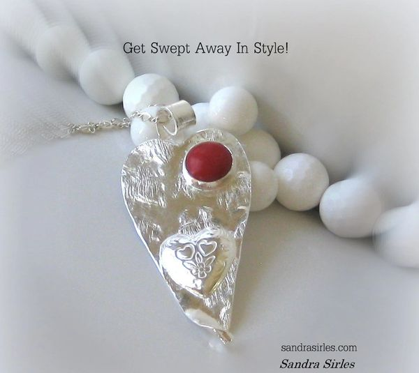 NECKLACE STERLING SILVER CORAL HEART W/ DESIGNS