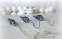 STERLING SILVER BLUE GLASS FLOWER PEAR NECKLACE, EARRING SET
