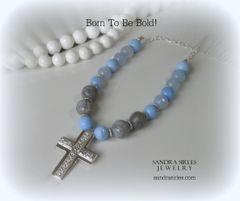 NECKLACE BLUE CHALCEDONY CROSS