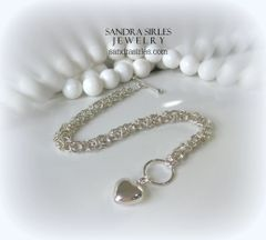 STERLING SILVER BYZANTINE CHAIN BRACELET WITH PUFF HEART