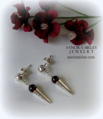 STERLING SILVER, GARNET EARRINGS
