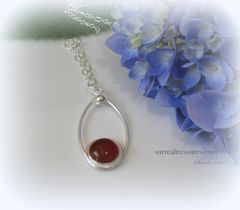 NECKLACE SUNSET STERLING SILVER, CARNELIAN