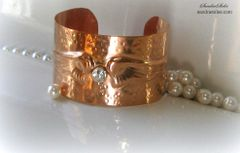COPPER STERLING SILVER HAMMERED WING CUFF