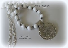 NECKLACE STERLING SILVER, WHITE AGATE MANDALA DESIGN