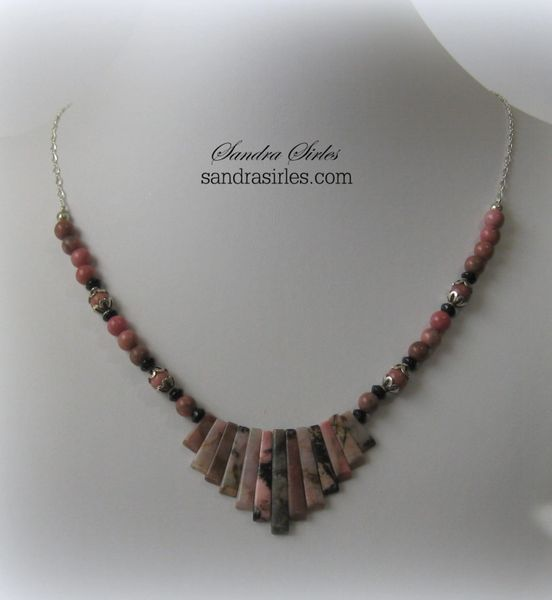 NECKLACE STERLING SILVER, RHODONITE, BLACK ONYX