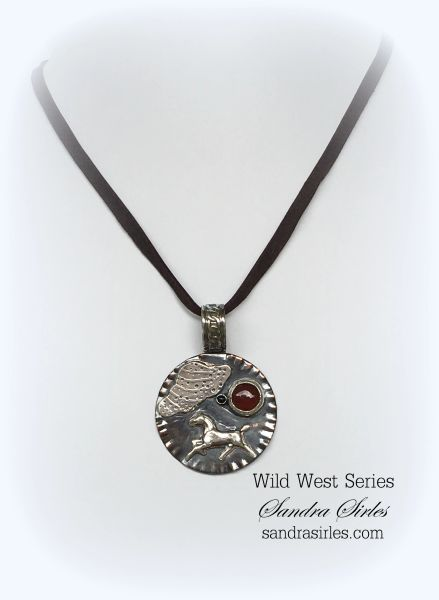 NECKLACE STERLING SILVER, COPPER, LEATHER ~A HORSES LIFE~