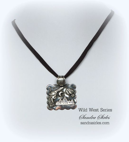 NECKLACE STERLING SILVER, COPPER, LEATHER ~THE NIGHT FRONTIER~
