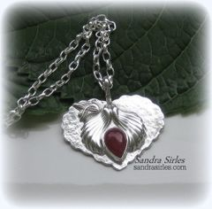 NECKLACE STERLING SILVER, HEART, DOVE, WINGS, INDIAN RUBY