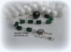 SILVER AND MALACHITE BRACELET