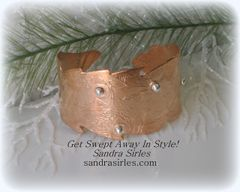 COPPER, STERLING SILVER LEAF CUFF
