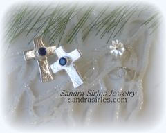 EARRINGS STERLING SILVER POST CROSS WITH BIRTHSTONE