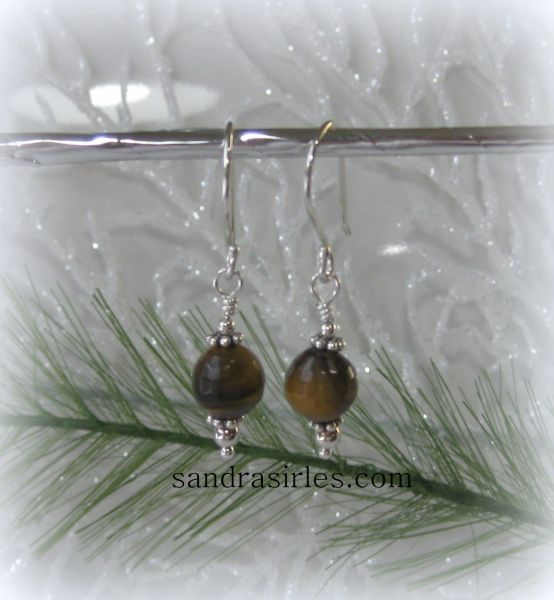 EARRINGS 8mm TIGER EYE, STERLING SILVER