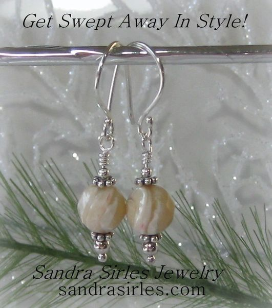 EARRINGS 8mm FACETED MOTHER OF PEARL, STERLING SILVER