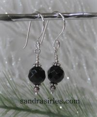 EARRINGS 8mm FACETED BLACK ONYX, STERLING SILVER