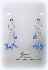 STERLING SILVER & BLUE GLASS EARRINGS