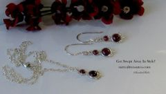 NECKLACE, EARRING SET STERLING SILVER, GARNET