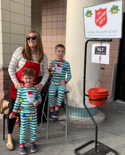 Kristin Laird 's sons used their allowance for candy canes to pass out to supporters.