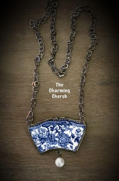 Vintage blue transfer ware broken china necklace