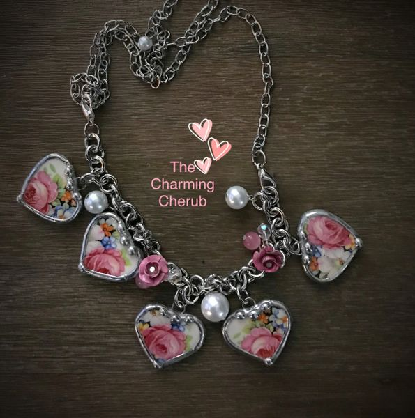 Roses broken china charm bracelet/ necklace