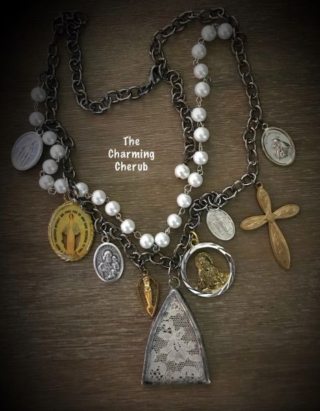 Church window charm necklace