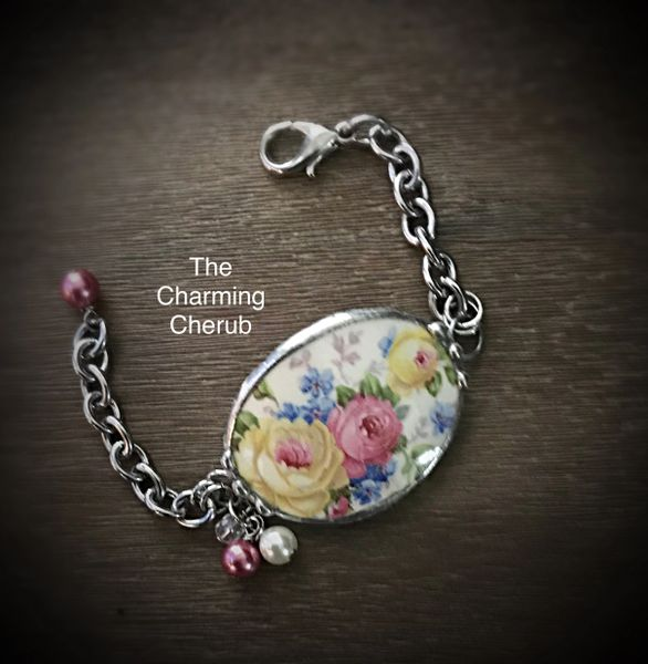 Teacup broken china bracelet
