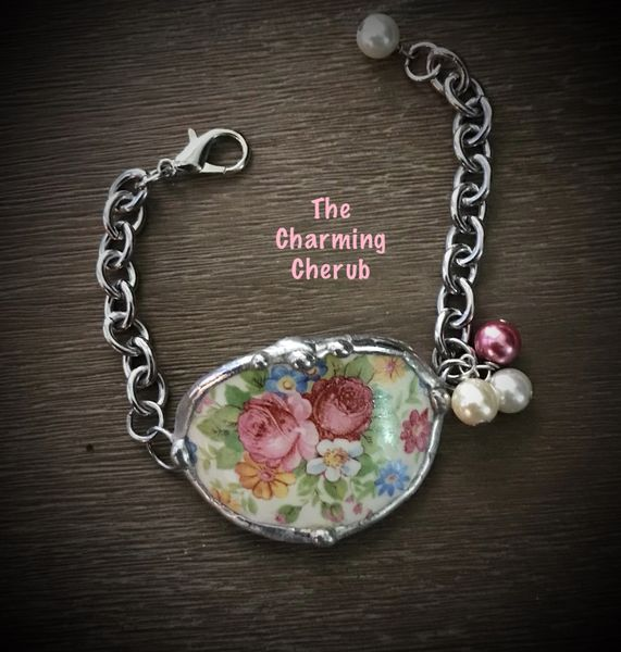 Roses broken china teacup bracelet