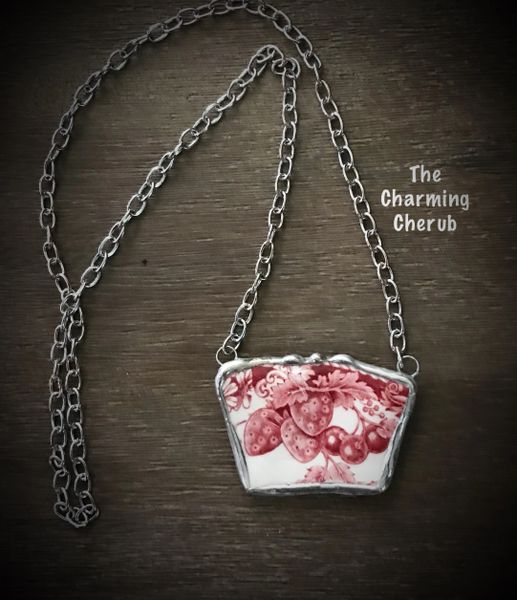 Broken china vintage strawberry fair necklace