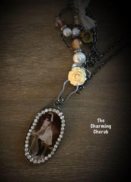 Vintage risqué woman necklace