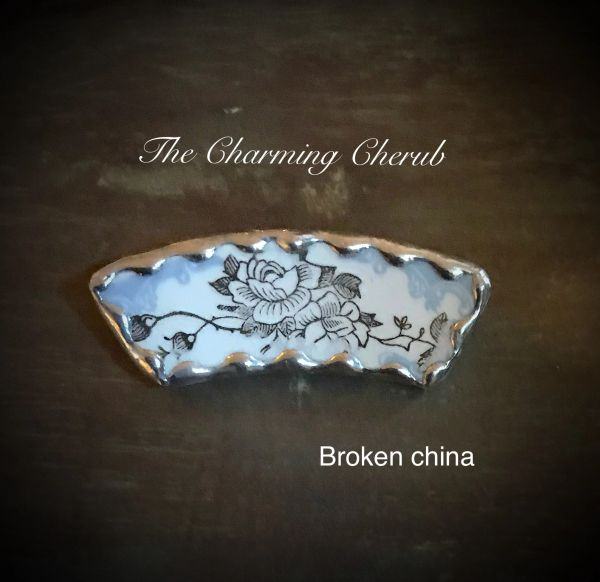 Broken china brooch