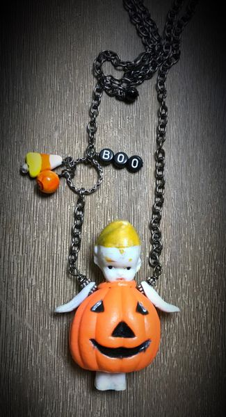Boo antique penny doll and pumpkin necklace