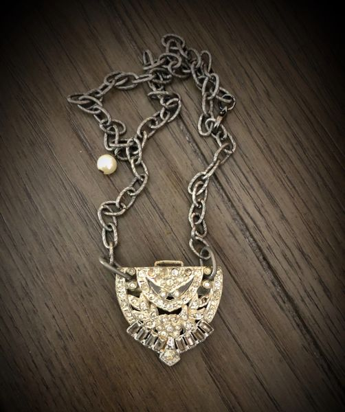 Antique shoe buckle necklace