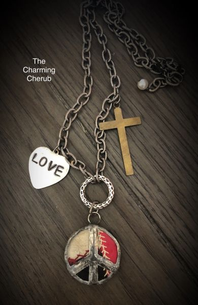 Peace love and faith crazy quit necklace