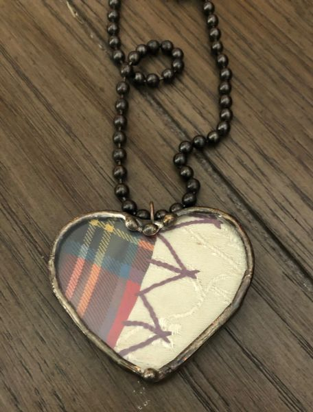 Plaid crazy quilt heart necklace