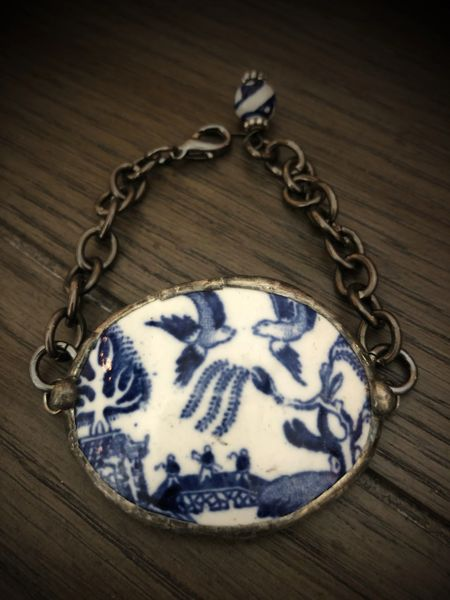 Blue Willow teacup bracelet