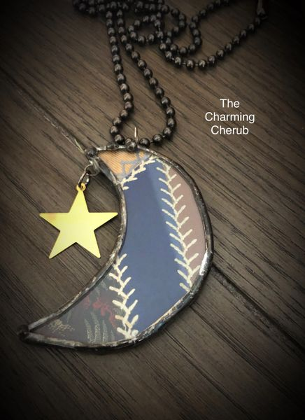 Crazy quilt moon and star necklace
