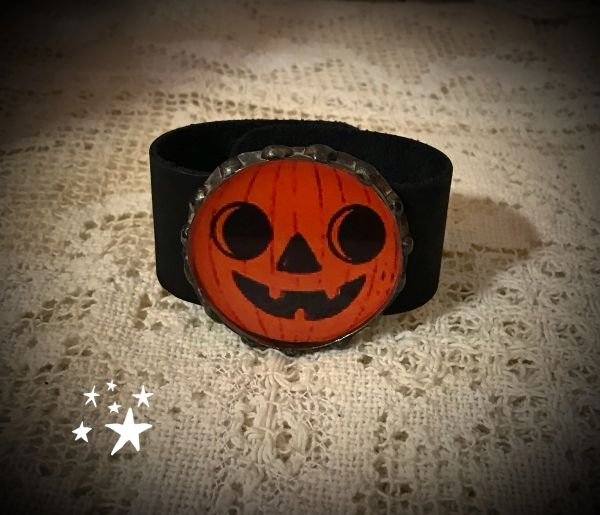 Pumpkin leather cuff