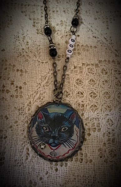 Boo black cat necklace
