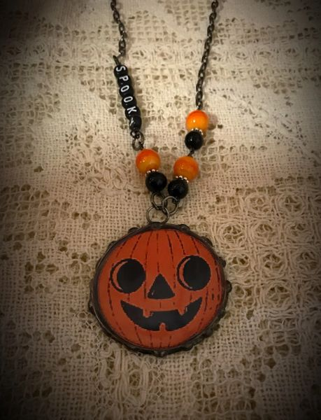 Round Halloween necklace
