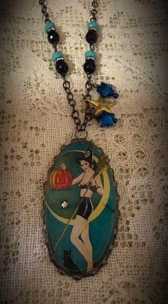 Retro witch necklace