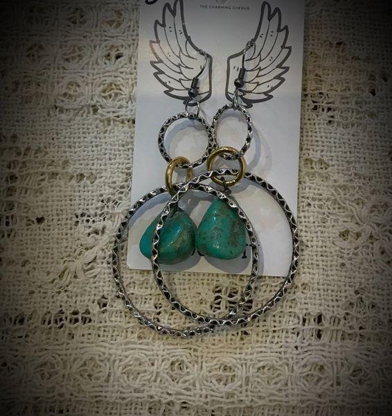 Boho hoop earrings turquoise