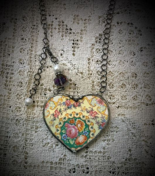Medium vintage heart necklace broken china